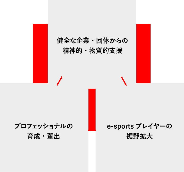 健全な企業・団体からの精神的・物質的支援、プロフェッショナルの育成・輩出、e-sportsプレイヤーの裾野拡大